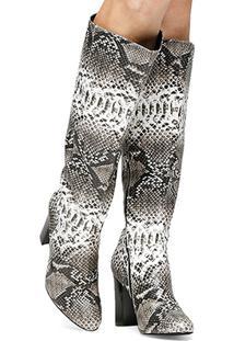 Bota Shoestock Cano Longo Cobra - Feminino-Cobra