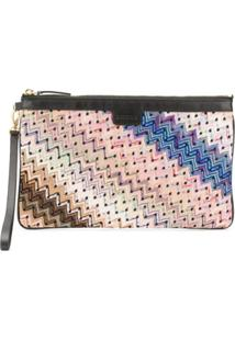 Missoni Clutch Com Bordado Chevron - Azul