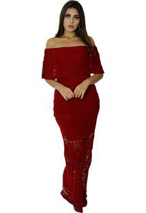 Vestido Longo Vitória Lótus Tricot Modelo Cigana Com Pala Vermelho