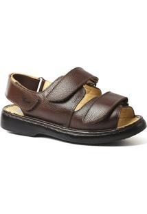 Sandália Couro Floater Doctor Shoes 301 Masculina - Masculino-Café