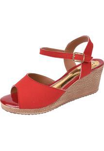 Sandália Romântica Calçados Anabela Vermelho