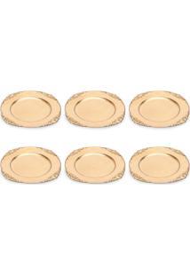Conjunto De Sousplat Com 6 Peças Provença Dourado 33 Cm