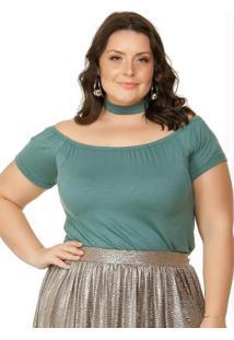 125c20a27 -17% Blusa Decote Ombro A Ombro Verde Miss Masy Plus