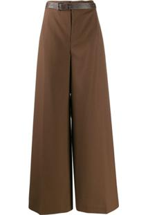 Marni Belted Wide-Leg Trousers - Marrom