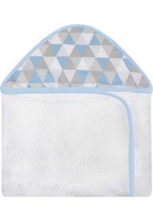 Toalha De Banho C/ Capuz Estampado Laura Baby Losango Azul