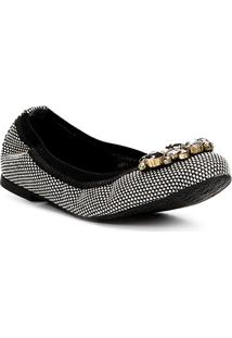 Sapatilha Shoestock Bico Redondo Quadriculada Pedraria Feminina - Feminino-Preto+Branco