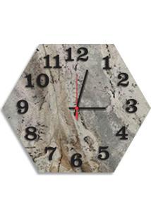 Relógio De Parede Decorativo Premium Hexagonal Magma Petra Com Números Em Relevo Médio