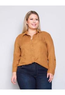 Camisa Plus Size Palank Lindona Feminina - Feminino-Mostarda