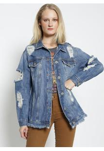 Casaco Jeans Com Destroyed- Azul- Colccicolcci