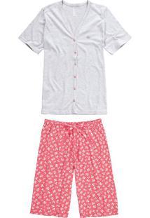 Pijama Floral Botões Malwee Liberta