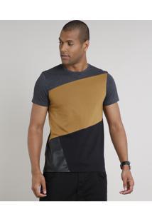 Camiseta Masculina Slim Fit Com Recortes Manga Curta Gola Careca Cinza Mescla Escuro