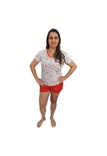Pijama Feminino Baby Doll Camiseta E Short Estampa Raposinha Branco
