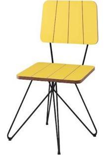 Cadeira Costinha Amarela Base Estrela Preta 80Cm - 62077 - Sun House
