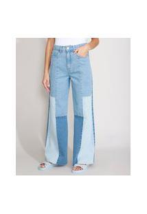 Calça Wide Pantalona Jeans Com Recortes Cintura Super Alta Azul Médio