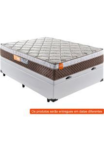 Cama Box Premium Baú Com Colchão Casal Albany Molas Ensacadas Marrom E Corino Branco