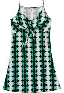 Vestido Estampado Com Amarração Verde