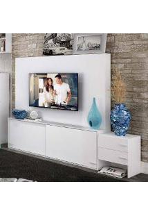 Estante Home Theater Com Nichos Flex Color Allegro 100 Mdp Branco/Branco/Rosa Carraro