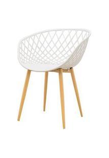 Cadeira Clarice Assento Em Polipropileno Branco Com Base Palito Cor Madeira - 45017 Branco