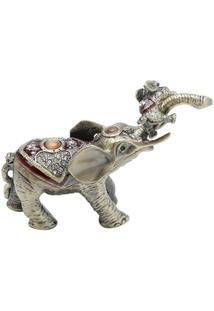 Porta Jóia Elefante Em Zamac 11 X 4 X 8 Cm - Unissex