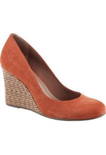 Sapato Anabela Em Couro- Laranja & Bege- Salto: 9Cmarezzo & Co.