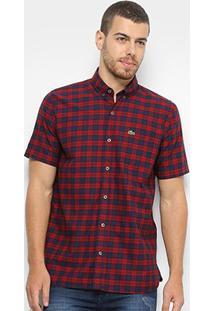 Camisa Lacoste Manga Longa Xadrez Masculina - Masculino