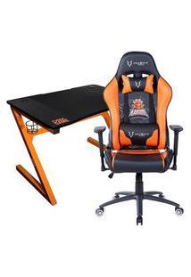 Cadeira Gamer Husky Gaming Kabum Esport, Preto E Laranja + Mesa Gamer Oex Dk200 Com Suporte Para Headset, Preto E Laranja