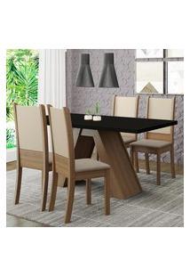 Conjunto Sala De Jantar Madesa Kiara Mesa Tampo De Madeira Com 4 Cadeiras - Rustic/Preto/Crema/Bege Marrom