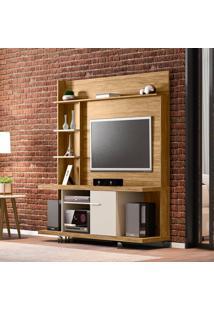 Estante Para Home Theater E Tv 60 Polegadas Taurus Cinamomo E Off-White