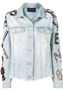 Philipp Plein Lettering Patchwork Denim Jacket - Azul