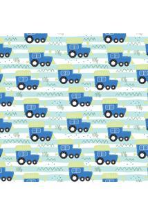 Papel De Parede Quartinhos Adesivo Texturizado Trenzinho Azul 2,70X0,57M