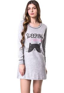 Camisola Manga Longa Sleeping Cat Feminino Adulto