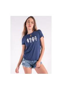 Blusa Nózinho Kaisan Com Silk Penas De Índio Azul Marinho