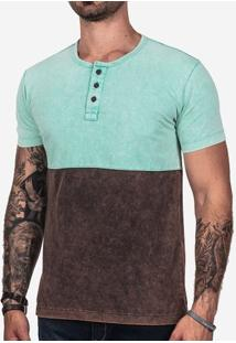 Camiseta Henley Meio A Meio Turquesa Marmorizada 101842