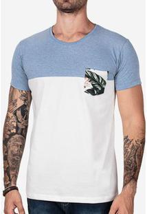Camiseta 1/3 Azul Bolso Floral 102450