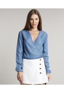 Blusa Jeans Feminina Cropped Transpassada Manga Longa Decote V Azul Médio
