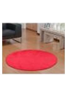 Tapete De Pelúcia Redondo Vermelho 1,50M De Diâmetro Antiderrapante Para Sala Ou Quarto