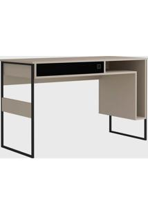 Mesa Office Cancun 120Cm Metallic Suede/Preto Zaile Emobilia