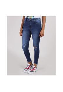 Calça Jeans Feminina Sawary Super Skinny Lipo Push Up Cintura Alta Azul Escuro