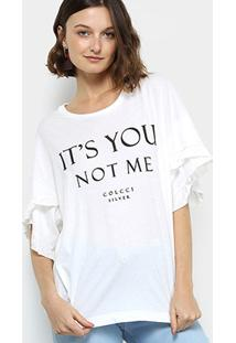 Camiseta Colcci Babados Feminina - Feminino-Off White