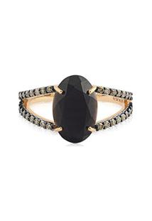 Anel Ouro Rosã© Quartzo Negro E Diamantes Brown