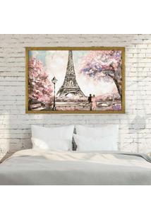 Quadro Love Decor Com Moldura Primavera Em Paris Dourado Médio
