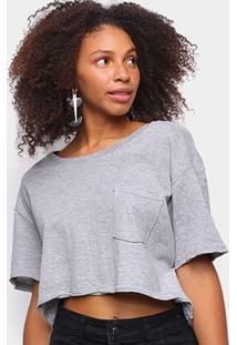 Camiseta John John Cropped Lisa Feminina - Feminino-Cinza Claro