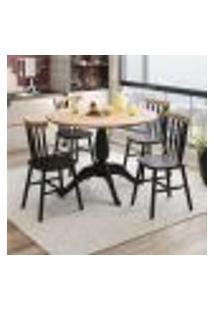 Conjunto De Mesa Redonda Milena Com 4 Cadeira Eucalipto-Preto/Natural