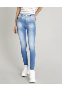 Calça Jeans Feminina Sawary Cigarrete Azul Médio