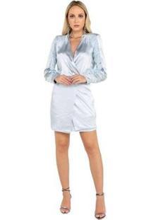 Vestido De Cetim Com Plumas Nas Mangas Feminina - Feminino-Azul Claro