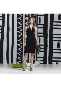Vestido Com Alças Mídi Preto Reativo - Lez A Lez