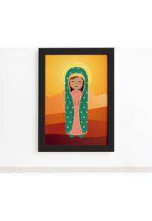 Quadro Nossa Senhora De Guadalupe Moldura Preta 22X32Cm - Multicolorido - Dafiti