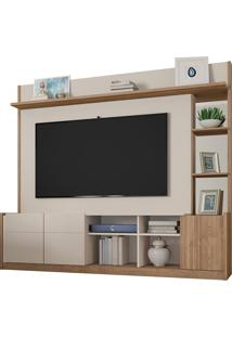 "Estante Home Para Tv De Até 65"" Polegadas Vértice-Caemmun - Off White / Buriti"