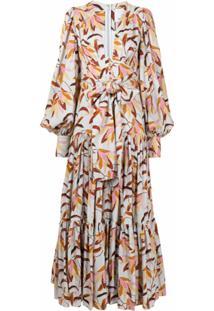 Acler Vestido Longo Evasê Com Estampa Floral - Colorido