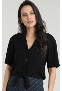 Camisa Feminina Cropped Com Nó Manga Curta Preta